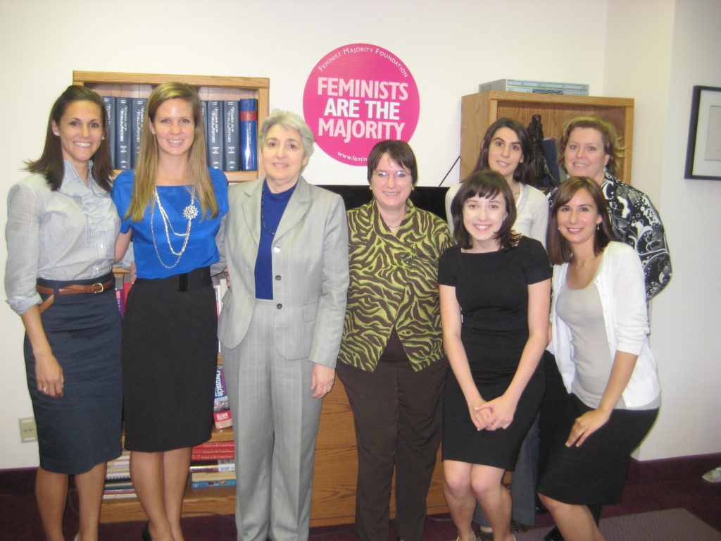 In Spring 2010, students in my Women and Public Policy seminar conducted research and drafted policy recommendations on how Congress might update and improve the Violence Against Women Act. The teams went to Washington to present their findings to Vice President Biden's senior aide for women's issues and to the Feminist Majority Foundation leadership, including Eleanor Smeal and Kim Gandy (pictured here).